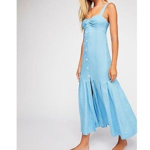 Free People Let's Get Lost Linen Dress Sz M NWT